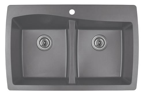 "Karran Double Bowl Top Mount Kitchen Sink Grey Finish 34""x 22"""