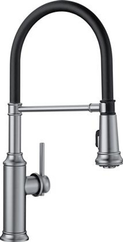 Blanco Empressa Single Handle Deck Mounted Semi-Professional Kitchen Faucet with Pull-Down Dual Spray in Stainless Finish