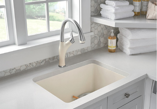 BLANCO ARTONA Kitchen Faucet in Stainless Finish / Biscuit