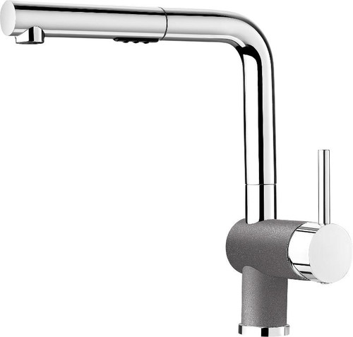 Blanco 403842 Posh Single Hole Pullout Spray Kitchen Faucet in Chrome / Metallic Gray