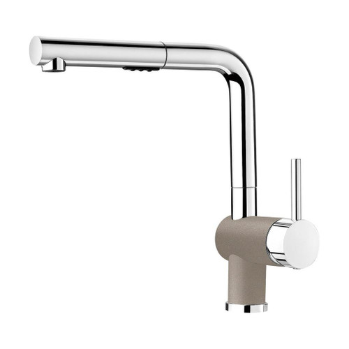 Blanco 403840 Posh Single Hole Pullout Spray Kitchen Faucet in Chrome / Truffle
