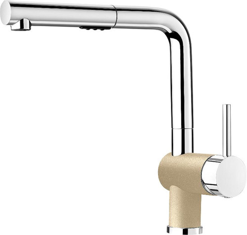 Blanco 403844 Posh Single Hole Pullout Spray Kitchen Faucet in Chrome / Biscuit