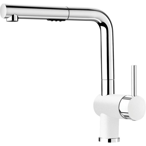 Blanco 403846 Posh Single Hole Pullout Spray Kitchen Faucet in Chrome / White