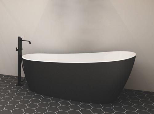 """Zitta Issa Freestanding Bathtub Matt Black 59 1/2"""" x 29″ x 27 1/2″"""