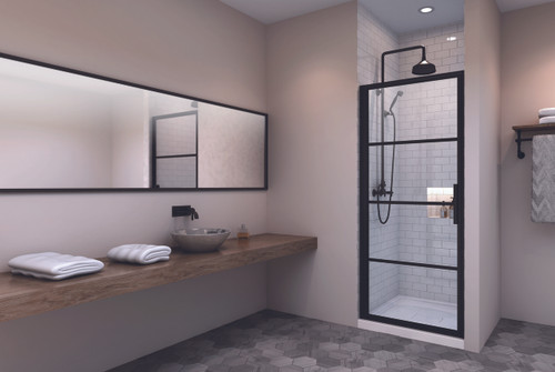 "Zitta Materia Alcove 1 Shower Door Black 32"""