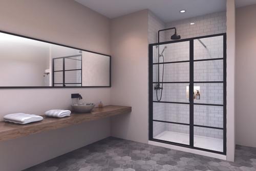 "Zitta Materia Alcove 1 Black Shower Door, 1 Fixed 42"""