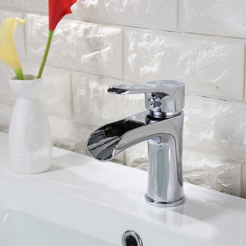 Kodaen Waterfall Lavatory Faucet Chrome Finish