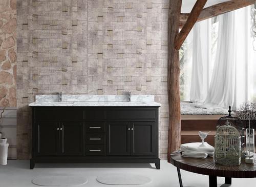 """Argento 62"""" Double Sink Bathroom Vanity Espresso"""