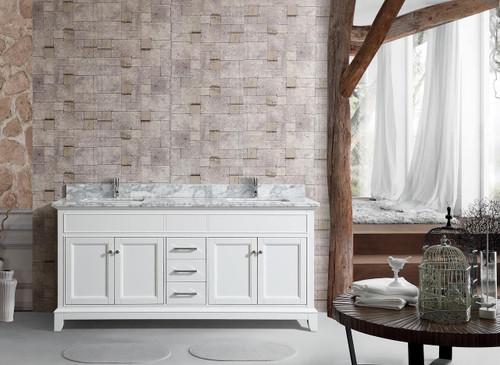 "Bayview 62"" Double Sink Bathroom Vanity White"