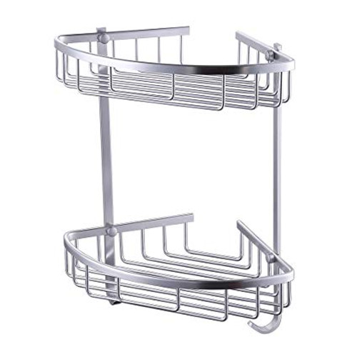 Royal Aluminum Tub and Shower Large Corner Basket Wall Mount Double Deck