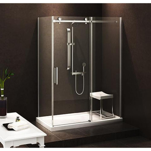 "Zitta BELLINI ALCOVE SHOWER DOOR WALL 1 DOOR ,1 FIXED 48"" x 32"" WITH BASE"