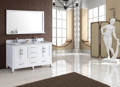 "Armada 65"" White Double Sink Bathroom Vanity"