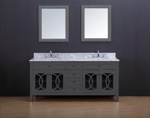 "Casa 72"" Double Sink Bathroom Vanity Ice Grey"