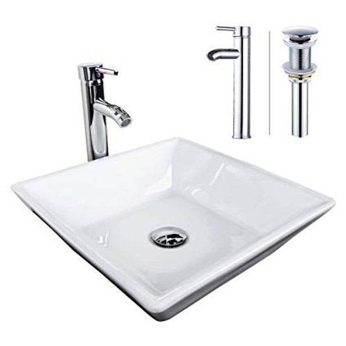 Modern Square Over Mount Vessel Sink & Chrome Faucet Combo with Pop up