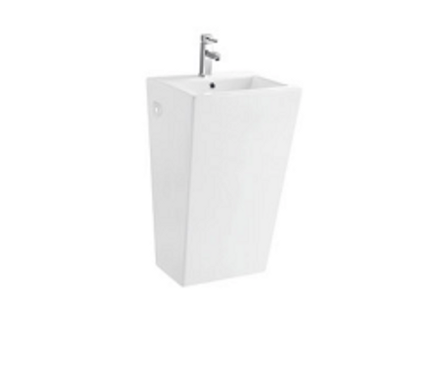 Nelly White Pedestal Basin With Single Faucet Hole