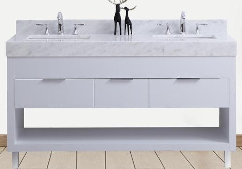 "SLS 60"" White Bathroom Vanity Double"