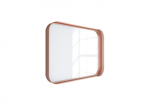 "Kende 32"" x 24"" Squared Metal Framed Mirror Rose Gold"