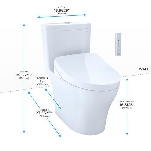 TOTO MW4463046CEMG Aquia IV WASHLET S500e Two Piece Toilet Cotton
