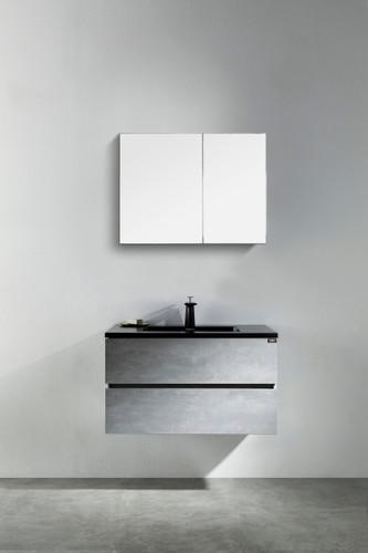 "Modern Edison 24"" Wall Mount Bathroom Vanity Grey With Black Top"