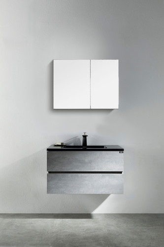 "Modern Edison 30"" Wall Mount Bathroom Vanity Grey with Black Top"