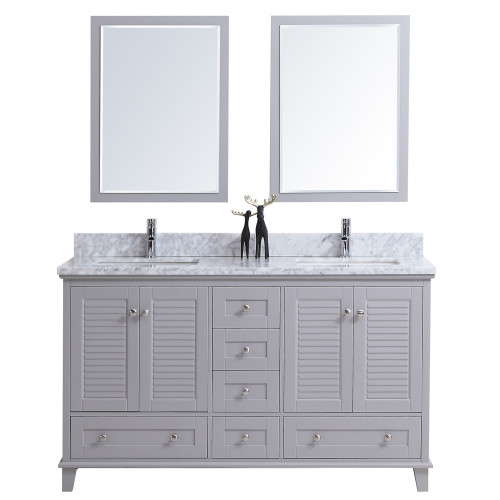 "Woodbridge 60"" Double Sink Bathroom Vanity Grey"