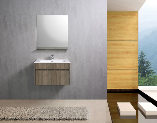 """Paola 24"""" Wall Mount Bathroom Vanity Ash With Matching Mirror"""