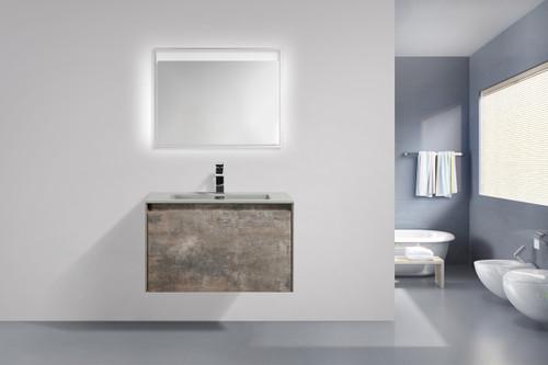 "Slim 24"" Modern  Wall Mount Bathroom Vanity Metalic Grey With Matching LED MIRROR"