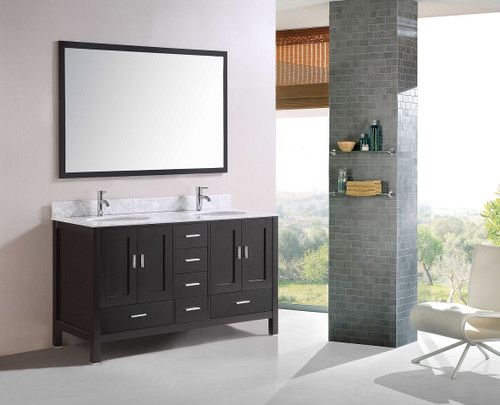 """Waterloo 60"""" Espresso Double Sink Bathroom Vanity WITH MATCHING MIRROR *ONLY 1 AVAILABLE BLK FRIDAY SPECIAL*"""