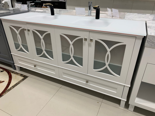"Florida 72"" Bathroom Vanity Matte White With Tempered Glass Top *DISPLAY* and Matching Mirror"