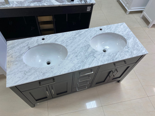 """60"""" x 22"""" D Double Sink Marble Counter Top"""