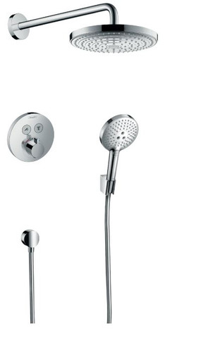 "Hansgrohe SELECT Thermostatic Showering Round with Slide Bar Assembly and 8"" Shower Head"