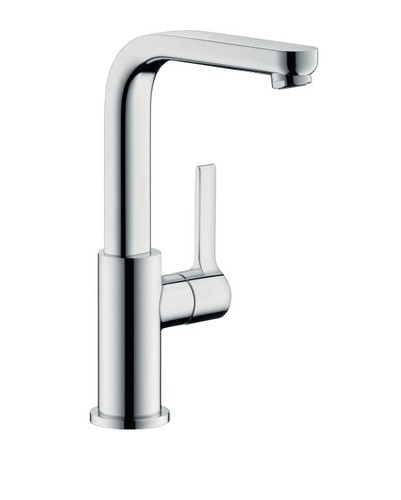 Hansgrohe Metris S Single Hole Faucet with Swivel Spout and Pop Up Drain Chrome Finish
