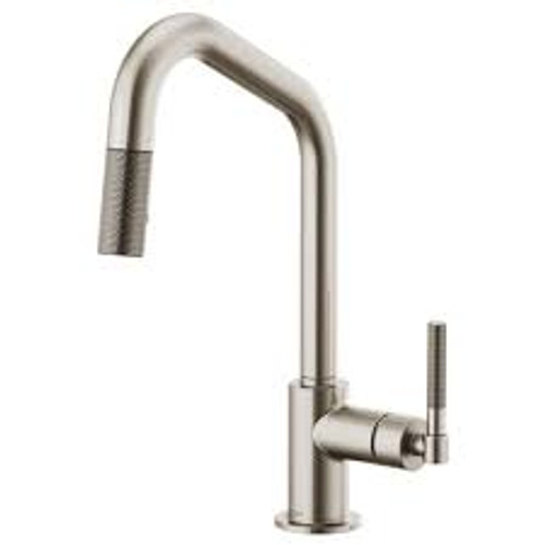 Brizo Litze Kitchen Pull Down Faucet with Angled Spout and Knurled Handle Stainless Steel Finish