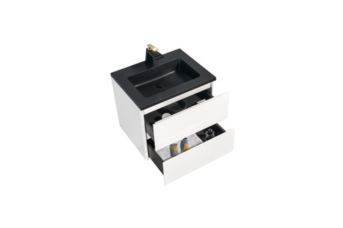 "Modern Edison Wall Mount Bathroom Vanity 24""  - White with Black Top"