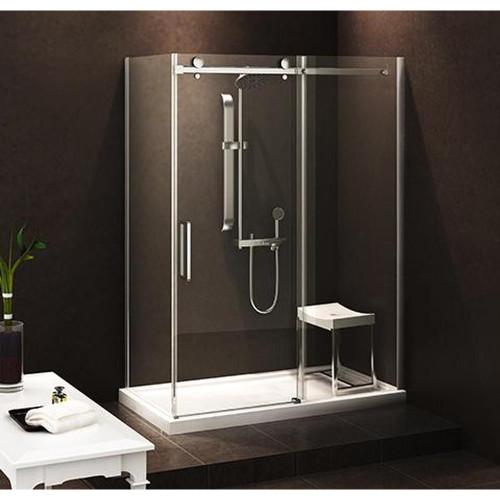 """Zitta Bellini Alcove Shower Door wall 1 Door, 1 Fixed 54"""" x 36"""" with Base"""