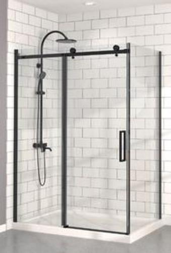 """Zitta Bellini Alcove Black Shower Door 48"""" x 36"""" with Base"""