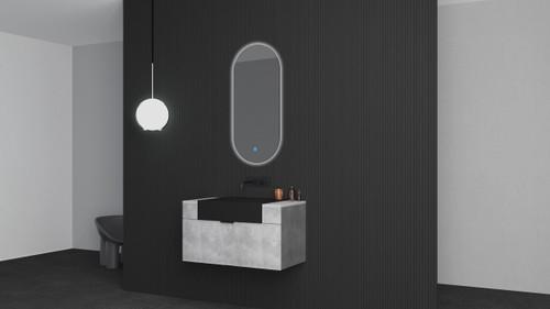 "Modern Victory 36"" Wall Mounted Bathroom Vanity - Cement Grey"