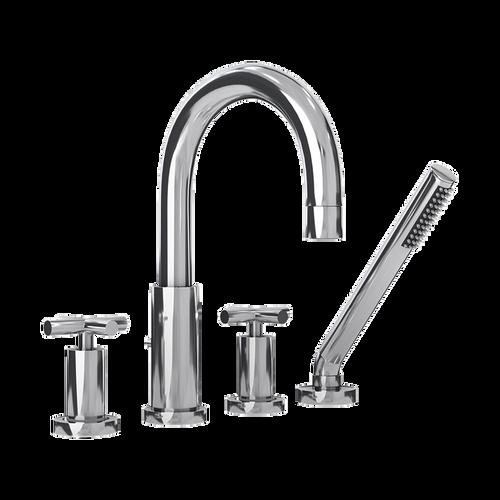 Rubi Alex Four-Piece Bathtub Faucet with Cross Handles Chrome