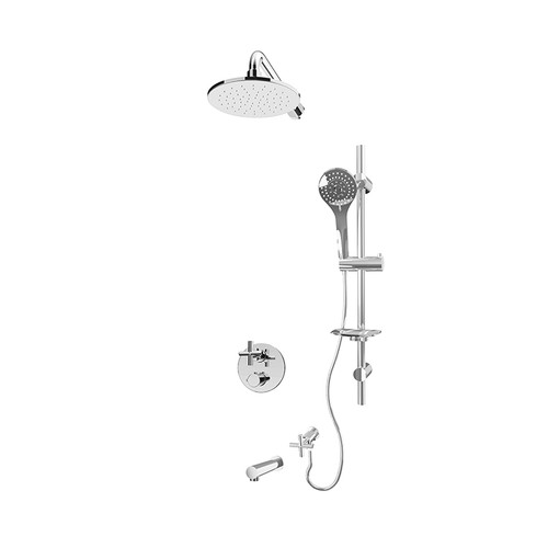 "Rubi Alex 1/2"" Thermostatic Shower Kit with Vertical Shower Arm and Round Shower Head Chrome"