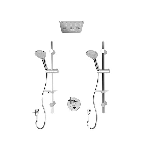 "Rubi Alex 1/2"" Thermostatic Shower kit with Double Sliding Bars with Hand Shower, Built-in Shower Head Chrome"