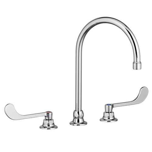 """American Standard Monterrey Widespread Bathroom Faucet with 8"""" Gooseneck Spout and 6"""" Wrist Blade Handles 1.5 gpm"""
