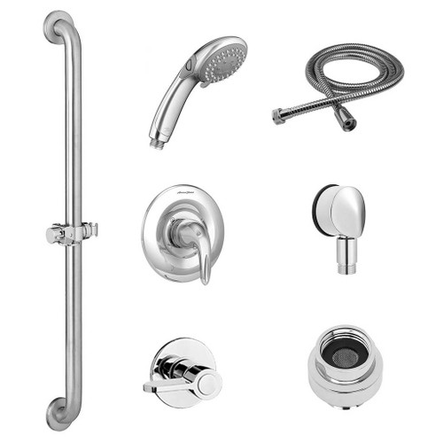 American Standard Commercial Shower System Kit for Flash Rough Valve - 2.5 GPM with Slide-Grab Bar - Hand Shower - Fixed Showerhead