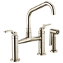 Brizo LITZE™ BRIDGE FAUCET WITH ANGLED SPOUT AND INDUSTRIAL HANDLE Polished Nickel