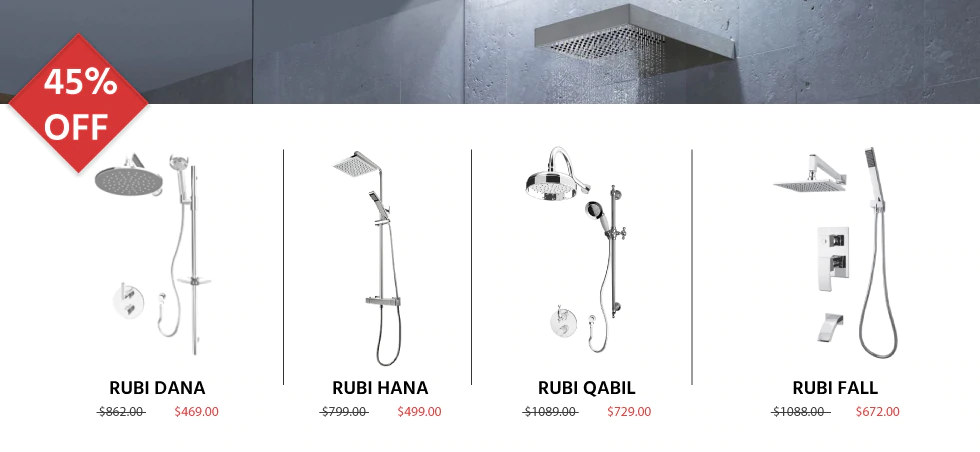 45% off Showers and Shower Heads Promo Banner