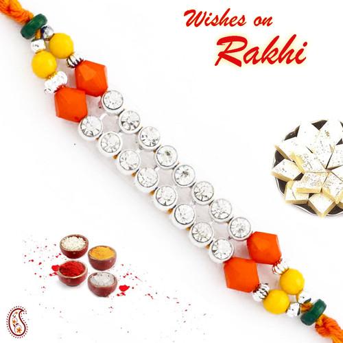 Aapno Rajasthan Wonderful Multicolor Beads & AD Studded Mauli Thread Rakhi