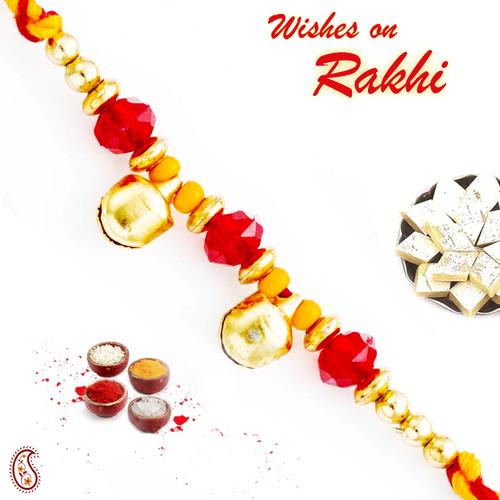 Aapno Rajasthan Twin Golden Bell Beads Mauli Thread Rakhi