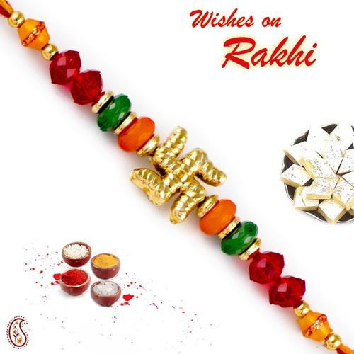 Aapno Rajasthan Colorful Beads & Swastik Motif Mauli Thread Rakhi