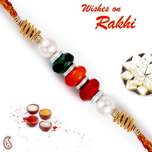 Aapno Rajasthan Multicolor Beads Mauli Thread Rakhi