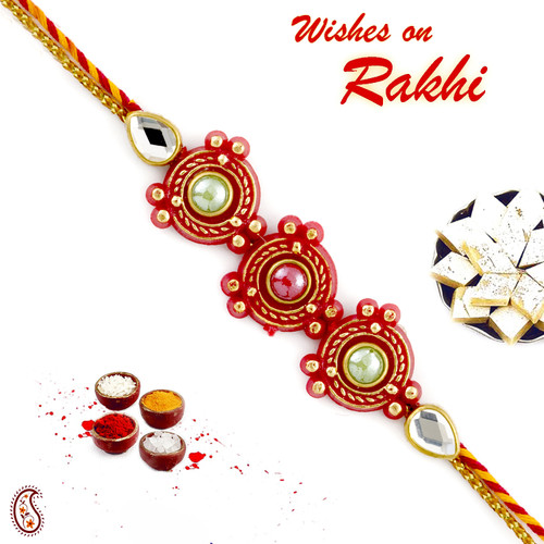Aapno Rajasthan Pink and Green beads studded Red Rakhi