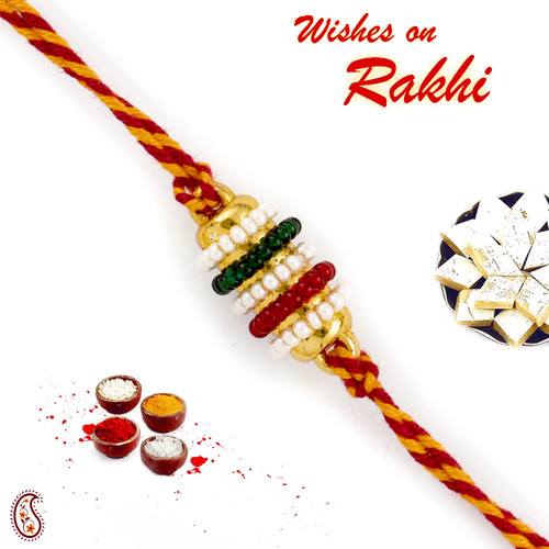 Aapno Rajasthan Small Colourful Beads studded Mauli Thread Rakhi